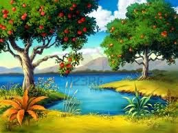 fruit tree by a stream